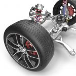 Detalle de neumático y sistema de suspensión
